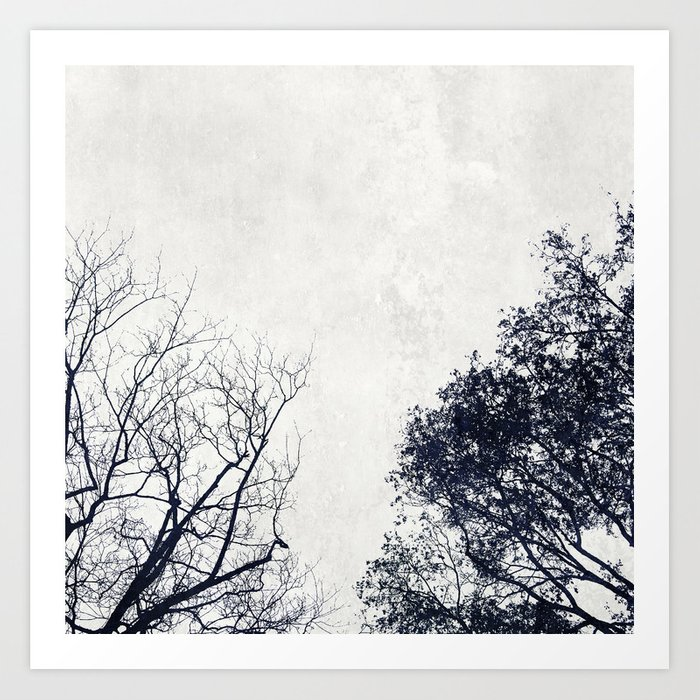 2 Trees (white) Art Print