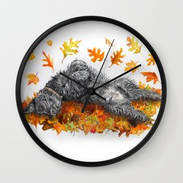 Scottie Dog Fall Fun Wall Clock