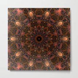 Copper Bronze Paisley Metal Print
