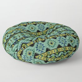 Blue and green aztec pattern Floor Pillow