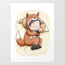 Boy Sleeping Wearing Fox Pajamas Art Print