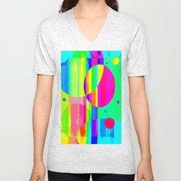 Re-Created Intersection XII by Robert S. Lee Unisex V-Neck