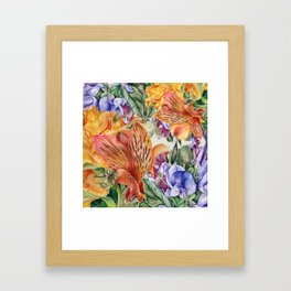 Alstroemeria & Lathyrus Framed Art Print