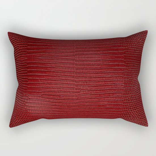 Red Lizard Leather Print Rectangular Pillow