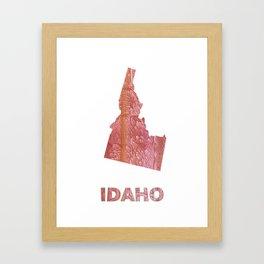 Idaho map outline Crimson red nebulous wash drawing Framed Art Print