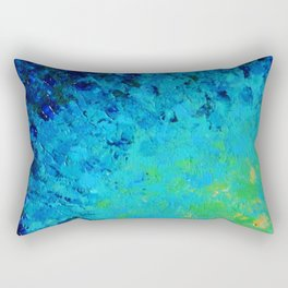 TRUE REFLECTION - Ocean Water Waves Ripple Light Impressionist Bright Colors Ombre Painting Rectangular Pillow