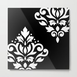 Scroll Damask Art I White on Black Metal Print