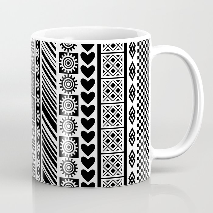 Black and White Adinkra Symbol African Print Pattern Coffee Mug