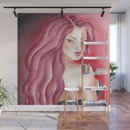 Redhead Watercolor Ink Pin Up Wall Mural