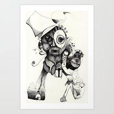 The Mad Hatter B&W Art Print