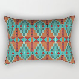 Orange Red Aqua Turquoise Teal Native American Indian Mosaic Pattern Rectangular Pillow