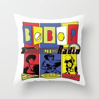 cowboy bebop Throw Pillows featuring Bebop radio  by whatdavedoes