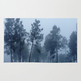 Fog and Forest II-wood,mist,romantic, greenery,sunset,dawn,Landes forest,fantasy Rug