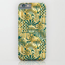 Chinese Symbols in Gold and Emerald Jade Green iPhone Case