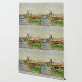 "Claude Monet ""Tulip field in Holland (Champ de tulipes en Hollande)"" Wallpaper"