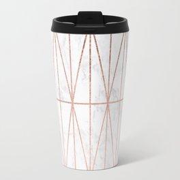 Modern geometric triangles faux rose gold pattern on white marble Travel Mug