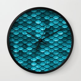 Beach house aqua blue mermaid fish Scales Wall Clock