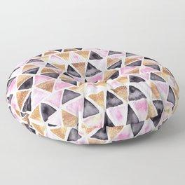 Rose Gold Pink Black Ink Geometry Floor Pillow