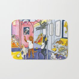 Canine Tourists On The Subway To Coney Island Bath Mat