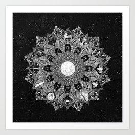 Zodiac Signs Mandala with Starry Background Art Print