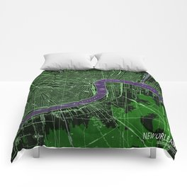 New Orleans Louisiana 1932 vintage old beautiful map Comforters