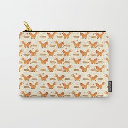 Red Fox & Hearts Pattern Carry-All Pouch