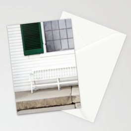 White Bench Green Shutters Stationery Cards