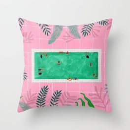 Pink riad pool Throw Pillow