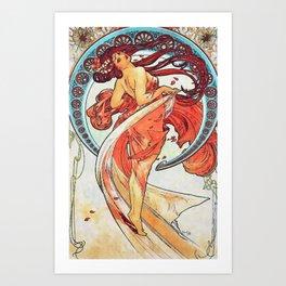 Alphonse Mucha Dance Art Nouveau Watercolor Painting Art Print