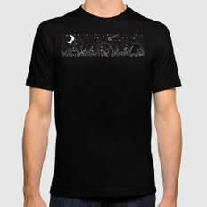 Elephant and Moon Black MEDIUM Mens Fitted Tee