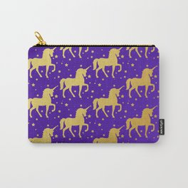 Purple and Gold Unicorn and Stars Pattern Carry-All Pouch