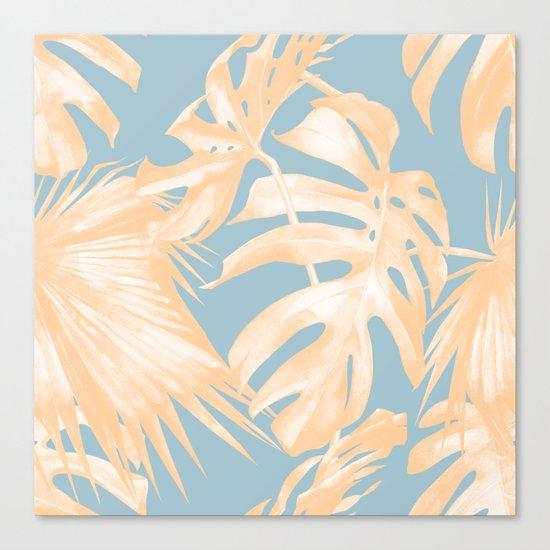 Tropical Leaves Citrus on Ocean Blue Canvas Print