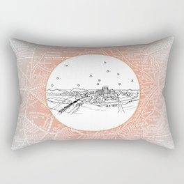 Chattanooga, Tennessee City Skyline Illustration Drawing Rectangular Pillow