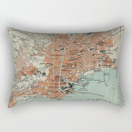 Vintage Map of Naples Italy (1911) Rectangular Pillow