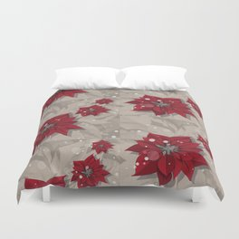 Poinsettias - Christmas flowers | BG Color I Duvet Cover