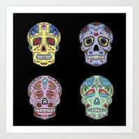 sugar skulls Art Prints featuring Sugar Skulls by katherinejago