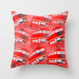 Red London Buses Throw Pillow