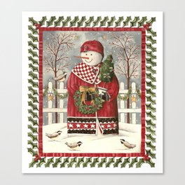 Holly Jolly Snowman Canvas Print
