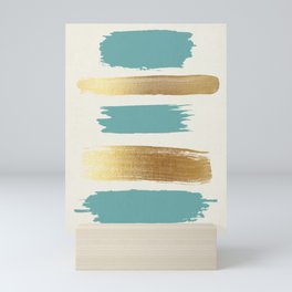 Brush Strokes (Teal/Gold) Mini Art Print