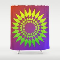square Shower Curtains featuring square by kourai
