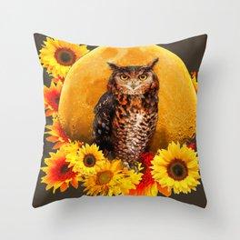 NIGHT OWL MOON SUNFLOWER ART Throw Pillow