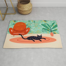 Boho Cat, Illustration Whimsical Graphic Design Pet Illustration Home Decor Eclectic Quirky Animal Rug