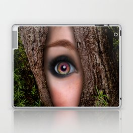 Beautiful Face trapped in a tree trunk Laptop & iPad Skin