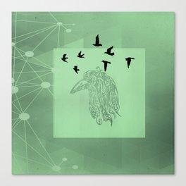 Tribal Raven: Green Canvas Print