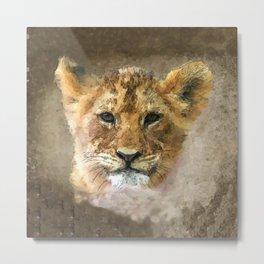 Watercolor Lion Cub Metal Print