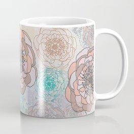 Peony Flowers Peach and Cream Coffee Mug
