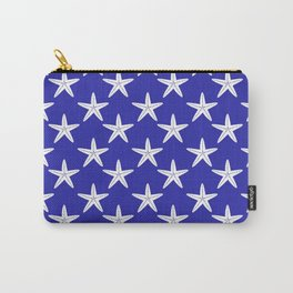 Starfishes (White & Navy Blue Pattern) Carry-All Pouch