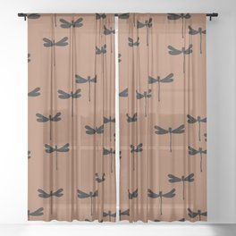 Dragonfly Insect Rust Brown print design patern Sheer Curtain