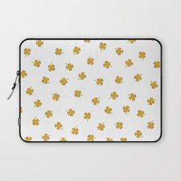 Golden Shamrocks White Background Laptop Sleeve