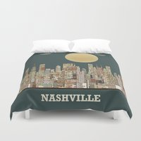 tennessee Duvet Covers featuring music city tennessee  by bri.buckley